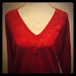 Emma James Red Floral Embroidered Beaded Sweater